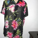 Liz Claiborne Shirt 8 Black Pink Green Floral Short Sleeves Top Semi Sheer New