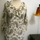 CHAPS PS Blouse Beige Blue Red Cotton 3/4 Sleeves Ruffled Neck Top Paisley New