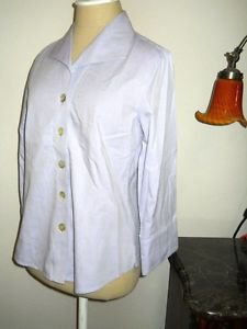 Foxcroft Size 6P Shirt Career Lavender Wrinkle Free Crisp Cotton 3/4 Sleeves New