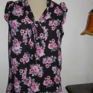 Forever 21 Top Size S Small Black Pink Floral Roses New Front Tie New Polyester