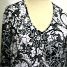 Chico's Stretch Soft Knit Blouse Size 2 M to L White Black Floral Print Used EUC