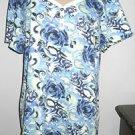 Karen Scott XL Blue White Green Floral Top Short Sleeves T Shirt New w/o Tag