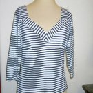 Boston Proper Size S Blue White Striped Career Top Silver Metallic Threads New