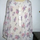 Rebecca Taylor 6 Blouse Pure Silk Pastel Purple Button Front Long Slv Floral New