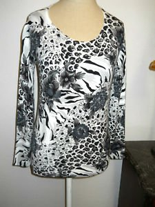 Carole Litte Size S Sweater White Gray Brown Animal Print Floral Stretchy New