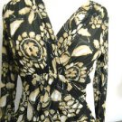 Karen Kane Size S Stretchy Top Black Brown Long Sleeve Floral Print Used Excellt