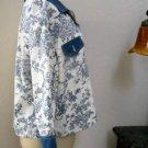 Bobbie Bee Petite L Jacket Pastoral Scene Blue White Long Sleeves Cotton New