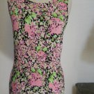 Floral Twin Set Size S Small Cardigan Sweater and Tank Top Black Pink Exc Used