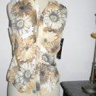Karen Kane Size S Floral Top Brown Beige Print Sleevless Career Shirt New w Tags