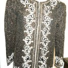 Starlight Blazer Size S Black Gold Color Silk Covered in Pearl Beads New W/o Tag