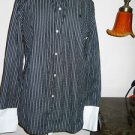 Ralph Lauren Shirt Size L Gray White Striped LRL Embroidery Career Long Slv New