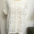 Chicos 2 Lace Blouse M to L Ivory Semi Sheer Embroidered New without Store Tags
