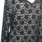 Valerie Size 16 Black Lace Beaded Evening Top Gorgeous Floral New without Tags