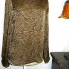 Silk Blouse Petite Small S Ann Taylor Brown Black Long Sleeves New w/out tags