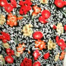 Floral Dress Size M Black Red Yellow Print Bonnie Evans Short Sleeves EUC