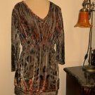 Cato Size L Blouse Velvet Embellished Career Elastic Waist Lace Sequins New NWOT