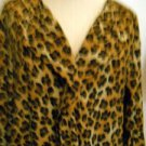Dana Buchman Size 2 Career Blouse Brown Animal Print Top Polyester New w/out Tag