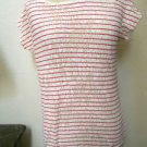 Aeropostale M Soft Knit Top Pink White Striped Cotton Lace Cap Sleeves New NWOT