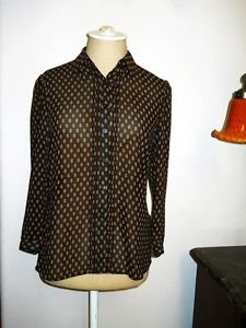 CHAPS Shirt Size 4 Brown Geometric Print Career Top Button Front New Wout Tags