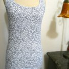 Eddie Bauer Size S White Navy Blue Floral Tank Cami Sleeveless Ribbed Top NWOT