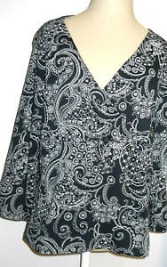 Croft & Barrow Size L Floral Top Black Beige 3/4 Sleeves Crossed Front NWOT