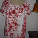 Karen Scott PXL Red White Floral Top Short Sleeves T Shirt Crystla Studded New