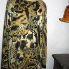 Dorothy Shoelen Cardigan Size L Black Beige Green Animal Print Career Large New