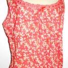 White Stag XL 16 18 Cotton Floral Orange Tank Sleeveless Top Ribbon Trim New