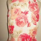 Madison Gray Size 10 Silk Top Floral Orange Beige Cream Roses Sleeveless New