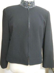 Linda Allard Ellen Tracy Blazer Size 10P Beaded Navy Blue 100% Wool New W/o Tags