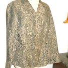 J Jill Blazer Size 10 Brown Black Brocade New No Store Tags Fabric Knot Buttons