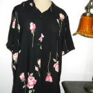 Alfred Dunner Shirt Size 10 Black Pink Floral Button Front Roses Used Excellent
