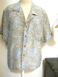 Liz Claiborne Silk Top Size 4 Beige Blue Floral Button Front Shirt Short Sleeves
