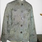 R.Q.T. Jacket 10 Gray Career Linen Cotton Partially Lined M Embroidered New
