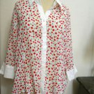 Capacity Unlimited XL Shirt Red Cherries 3/4 Sleeves Wrinkle Free New No Tags