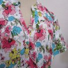 Healing Hands Shirt XL Green Pink Floral Partial Button Front Top Career New NWT