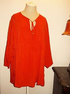 Michael Kors Blouse 2X Rayon Career 3/4 Sleeves Orange Top New w/out Store Tags