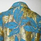 Erin London Blazer S Jean Jacket Blue Chenille Gold Floral Brocade New Excellent