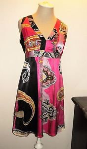 INC 6 Petite Pure Silk Dress Multi Color Lined Cocktail Party Evening Tank New