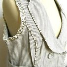 My Michelle Vest XL Brown White Striped Floral Inside Button Front Ruffled New