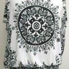 Robert Louis Size L Black White Polyester Tank Cami Cap Sleeves Ruffled Top EUC