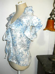 Ralph Lauren Shirt Size L Blue Floral Button Front Ruffled Sleeve Used Excellent