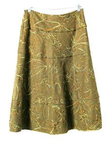 Cynthia Steffe Skirt Size 2 Loden Green Pure Wool Floral Embroidery New no tags