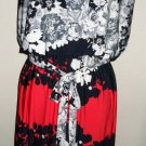 ENFOCUS Studio Dress Size 14 Floral Cap Sleeves Navy Pink Gray Exllnt Used EUC