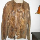 Chico's 2 Leather Jacket Snake Skin Unlined Soft Supple Open Front Ruffled Hide