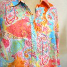 CHAPS Shirt Size M Orange Pink Turquoise Floral Button Front Top Excellent Used