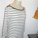 Ralph Lauren Top L White Navy Striped Stretchy Blouse Green Label Cotton Used