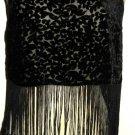 Black Burned Out Velvet Fringed Vest Size Small S Floral Forever 21 New NWOT