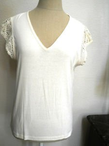 CHAPS M Soft Knit T Shirt Ivory Cream Short Sleeves Crochet New Without Tags