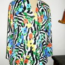 Rafaella PL Blouse Pure Cotton 3/4 Sleeves Multi Color Floral Top Soft Knit New